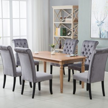 Dining Tufted Armless Upholstered Accent Chair Set Of 2 Grey, Gray