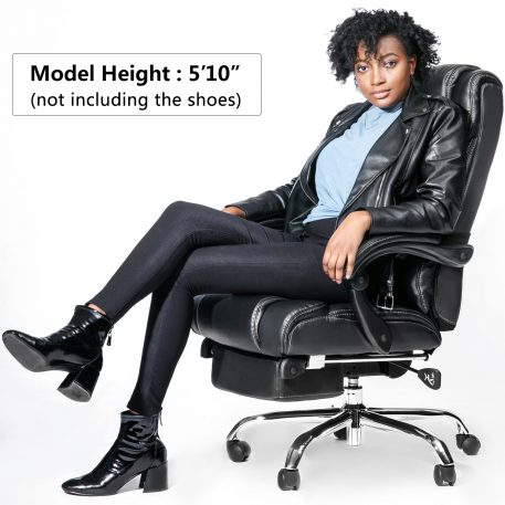 Office Chairhigh Quality Pu Leather/double Padded/support Cushion And Footrest