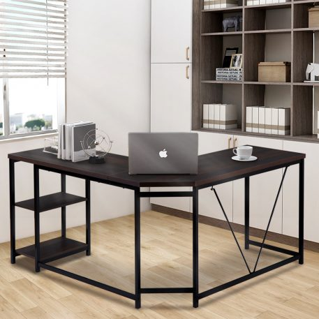 Office Desk L-shaped Computer Desk With 2-tier Storage Shelves For Home Officewalnut