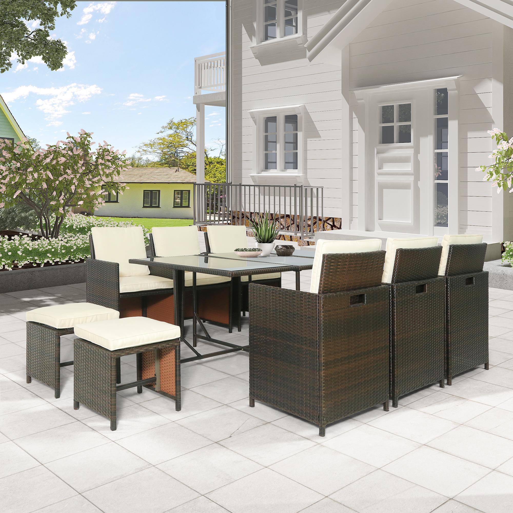 11-piece Outdoor Rattan Wicker Patio Dining Table Set Garden Outdoor Patio Furniture Sets 11-piece