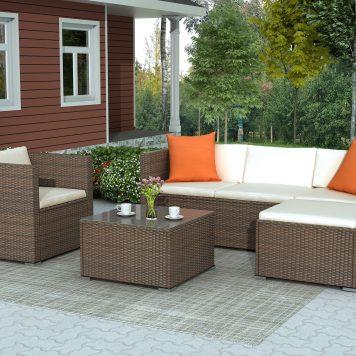 Rattan Patio Furniture Set Wicker Sofa Cushioned Sectional Furniture Set Garden Patio Sofa Set 4 Pieces, Brown