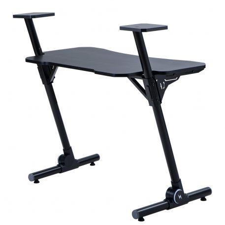Home Office Gaming Desk/ Computer Desk /z-shaped Pc Desk Workstation With Carbon Fiber Surface And Headphone Hookblack