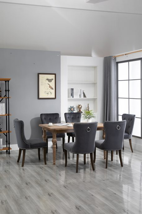 Dining Chair Tufted Armless Chair Upholstered Accent Chair, Set Of 6 Grey