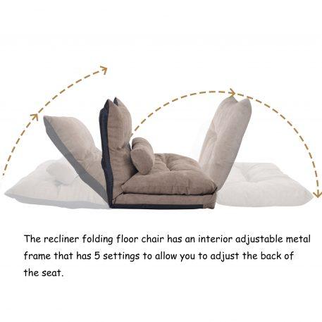 Adjustable Folding Futon Sofa With Two Pillows