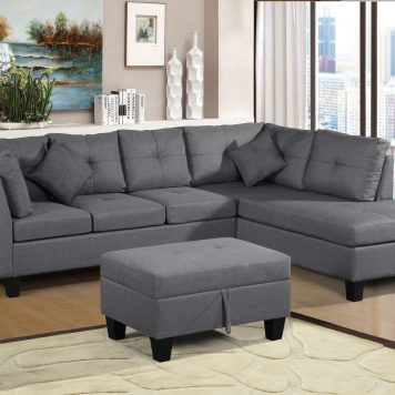 Sectional Sofa Set With  Right Hand Chaise Lounge And Storage Ottoman