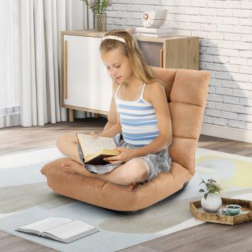 Fabric Upholstered Folding Lazy Sofa