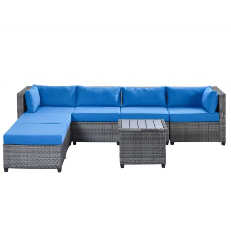 7 Piece Rattan Sectional Seating Group With Cushions