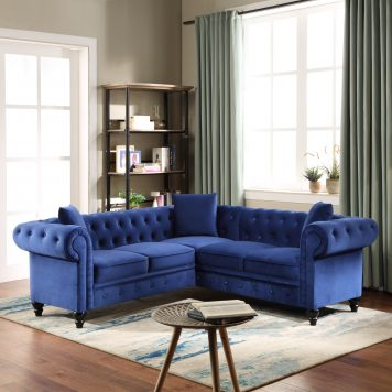 Classic Chesterfield Sectional Sofa 3 Pillows Included
