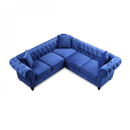 Classic Chesterfield Sectional Sofa, 3 Pillows Included