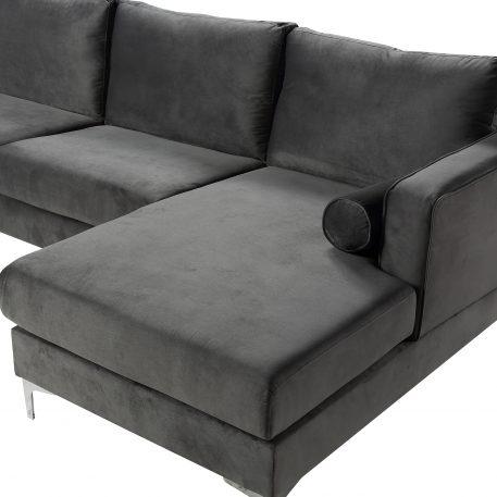 U-Shape Upholstered Couch With Modern Elegant Velvet, Gray