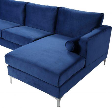 U-shape Upholstered Couch With Modern Elegant Velvet, Blue