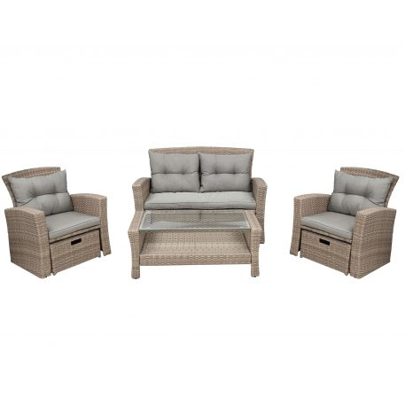 4 Piece Outdoor Conversation Set With Ottoman And Cushions