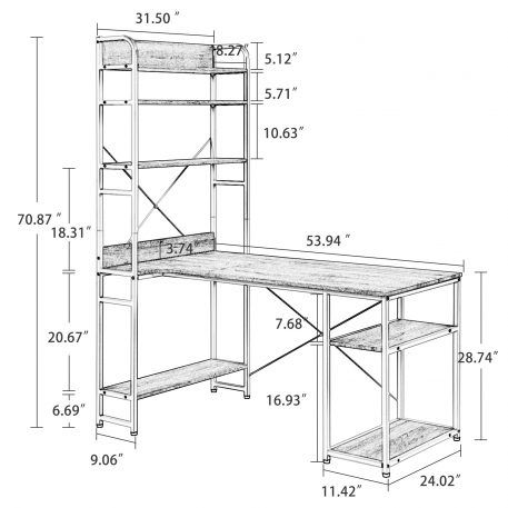 Home Office Computer Desk Metal Frame And MDF Board