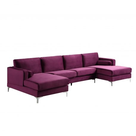 U-shape Upholstered Couch With Modern Elegant Velvet Purple