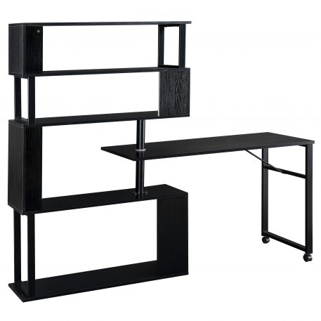 Home Office Rotating Computer Table With 5-Story Bookshelf