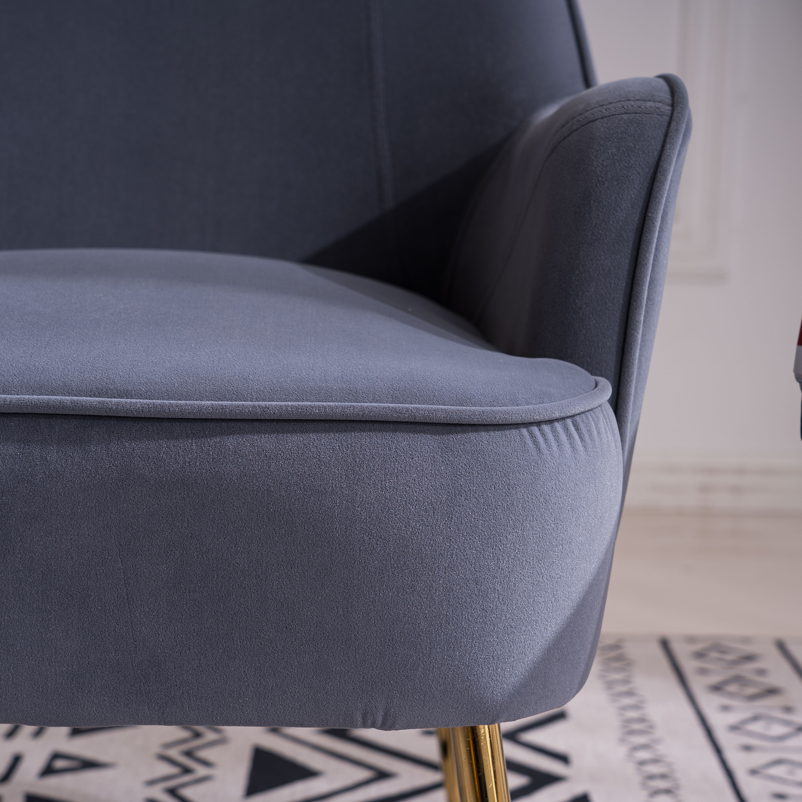 """26\\\\\\\\\\\\\\\"""" Velvet Accent Chair with Gold Metal Legs"""