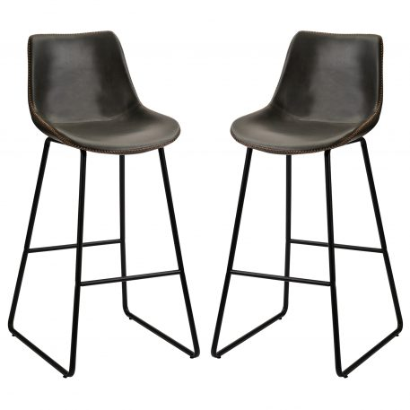 Vintage Leatherier Bar Stools With Back And Footrest Counter Height Dining Chairs Set Of 2