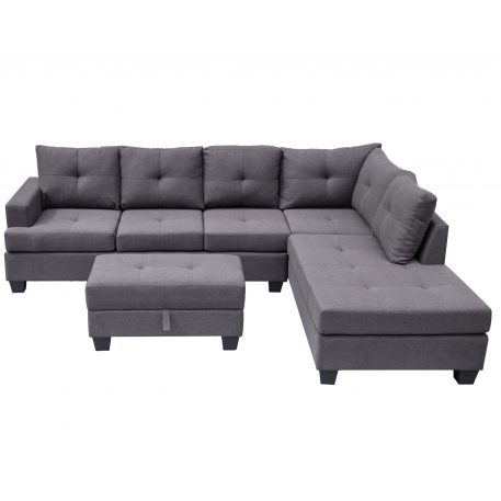 L-Shape Sofa Sectional Matching Storage Ottoman And Cup Holders