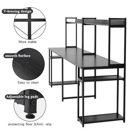 Home Office Double Workstation Desk With Shelf