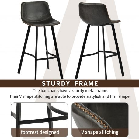 Low Back Footrest Vintage Leatherier Height Bar Stools Dining Chairs Set Of 2