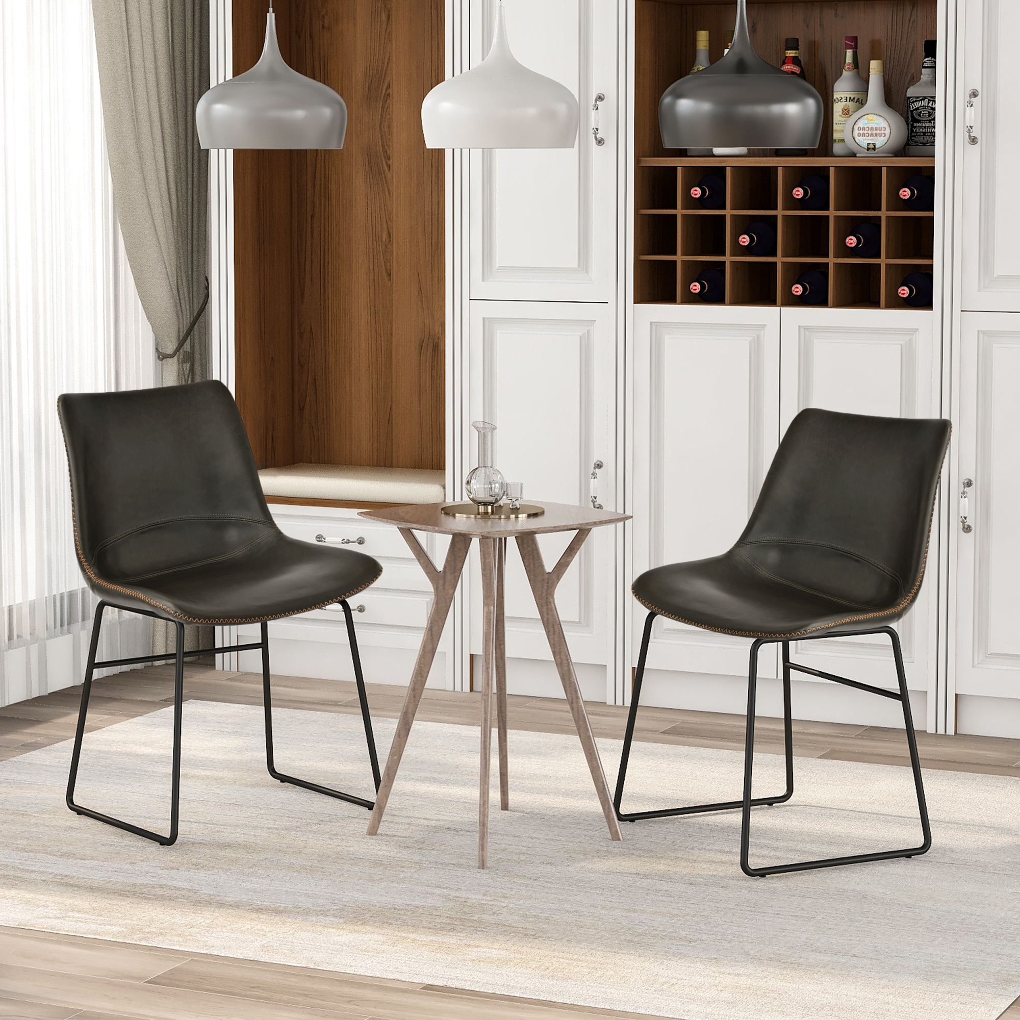 Vintage Armless Leatherier Dining Stools Indoor Dining Chairs Set Of 2
