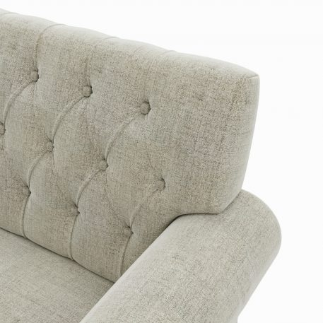 "58"" Linen Chesterfield Settee Tufted Scrolled Arm Loveseat High leg Studio Bench"