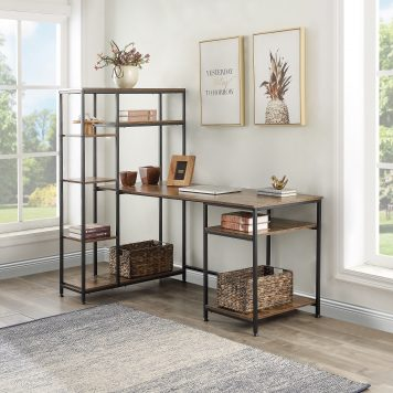 Modern Large Office Desk With Bookshelf And Storage Space