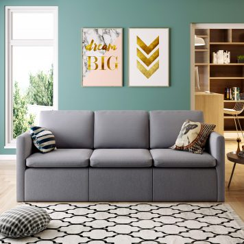 3-Seat Sofa Couch With Modern Linen Fabric