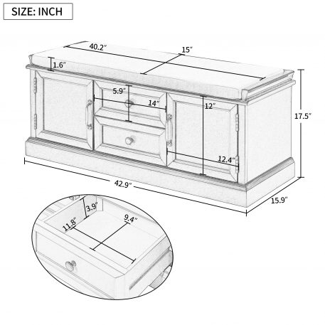 Storage Bench With 2 Drawers And 2 Cabinets
