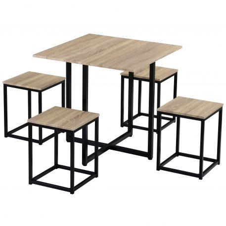 5 Piece Dining Set, Bar Table With 4 Bar Stools