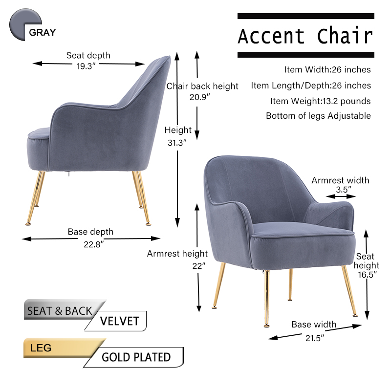 """26\\\"""" Velvet Accent Chair with Gold Metal Legs"""