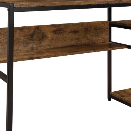 Home Office Computer Desk With 2-Tier Bookshelf And Open Storage Shelf