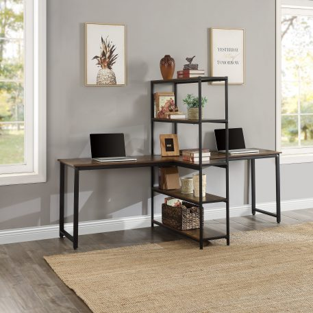 Extra Large Double Workstations Office Desk With Storage Shelves