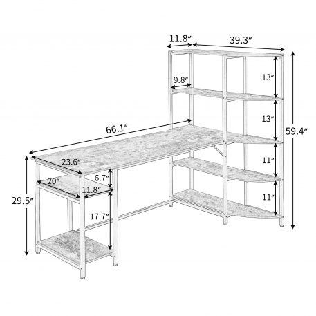 Home Office Computer Desk With 5 Tier Storage Shelves
