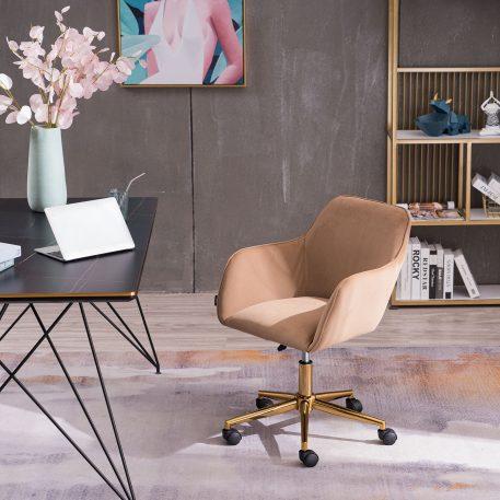 Velvet Home Office Chair with Gold Metal Leg