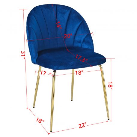 Modern Dining Chair Set Of 2  With Iron Tube Golden Legs, Velvet Cushion And Comfortable Backrest