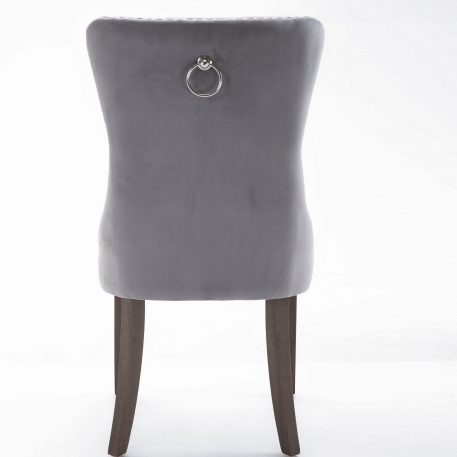 High-end Tufted Solid Wood Upholstered Grey Dining Chair With Nailhead Trim 2 Pcs