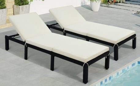 Adjustable PE Rattan Wicker Chair with Cushion Set Of 2
