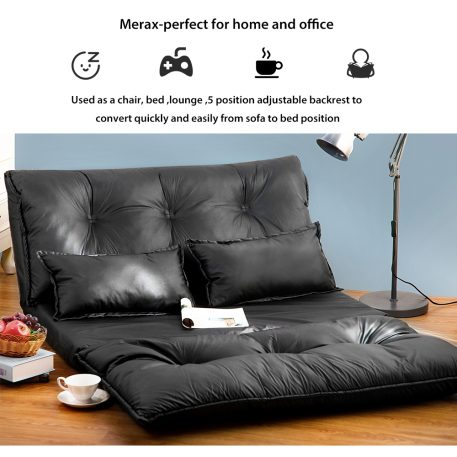 Merax PU Leather Foldable Floor Sofa With Two Pillows