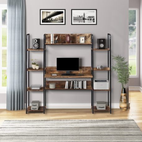 Home Office Computer Desk With Storage Hutch And Double Bookcase