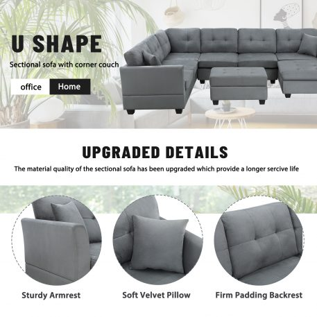 U-Shape Upholstered Couch With Two Pillows, Storage Ottoman