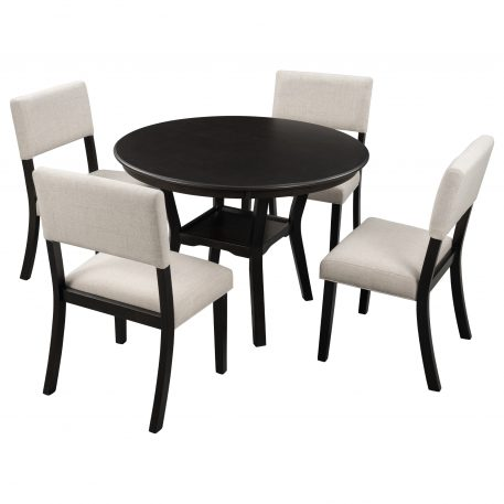5-Piece Dining Table Set Round Table With Bottom Shelf, 4 Upholstered Chairs