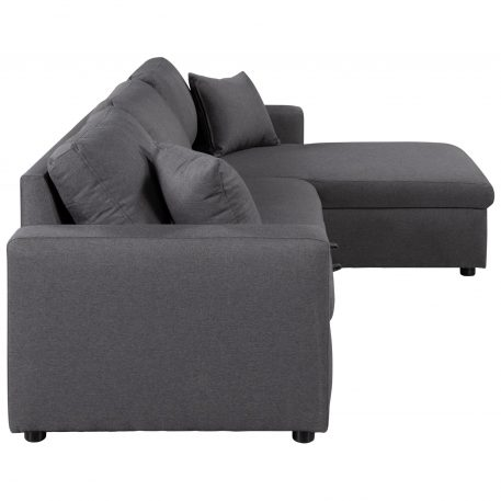 Upholstery Sleeper Sectional Sofa With Storage Space, 2 Tossing Cushions