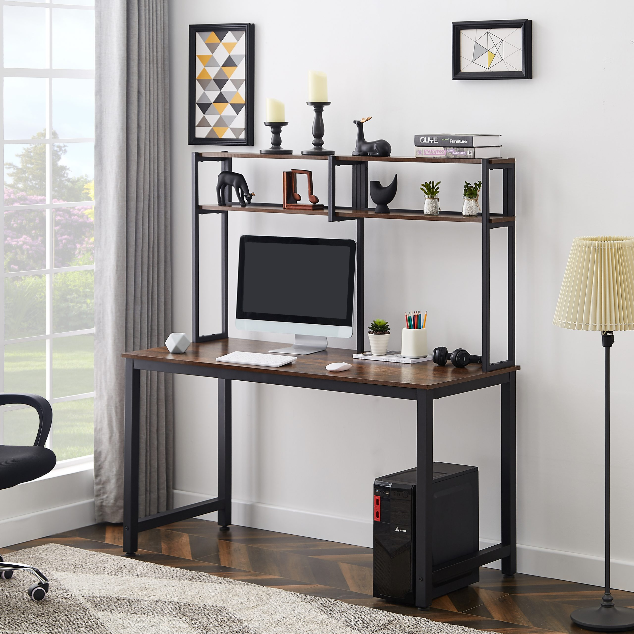 52 Inches Computer Desk With Hutch And Shelves