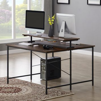 47 X 47 Inch Extra Large Computer Desk With Monitor Shelf