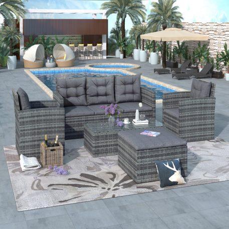 5-Piece Outdoor UV-Proof Patio Sofa Set With Storage Bench