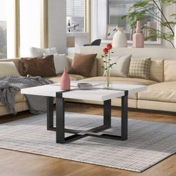 37.4 Inch Coffee Table With Crossed-Shape Table Top And Metal Legs