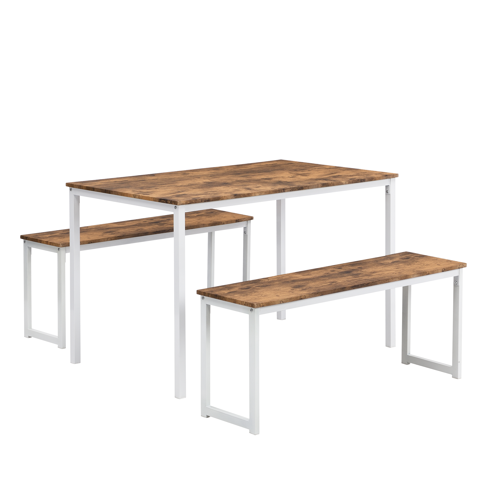 3 Piece Dining Set, Kitchen Table With Benches