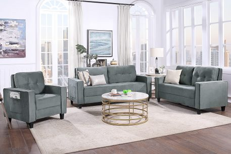 Morden Style Upholstered Sectional Sofa Set, 1+2+3-seat