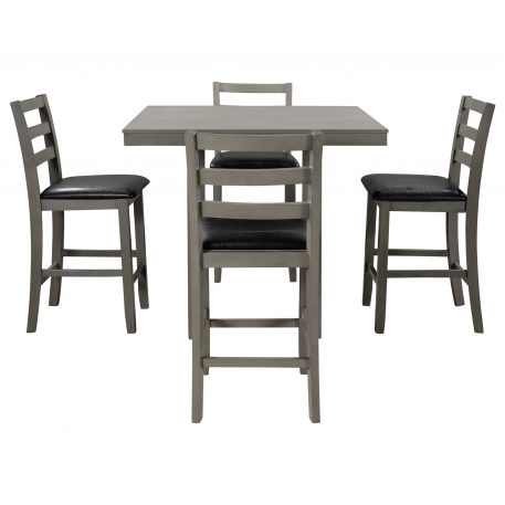 5-Piece Wooden Counter Height Dining Set With Padded Chairs And Storage Shelving